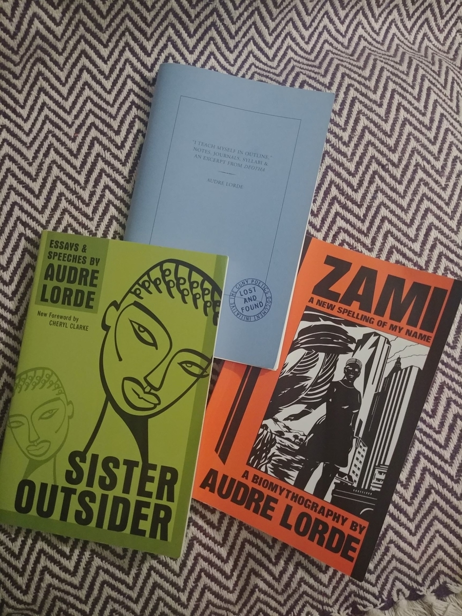 "Photo of my copies of Audre Lorde's work, as mentioned in this essay (from top, counter-clockwise): ""I teach myself in outline""; Sister Outsider; Zami."