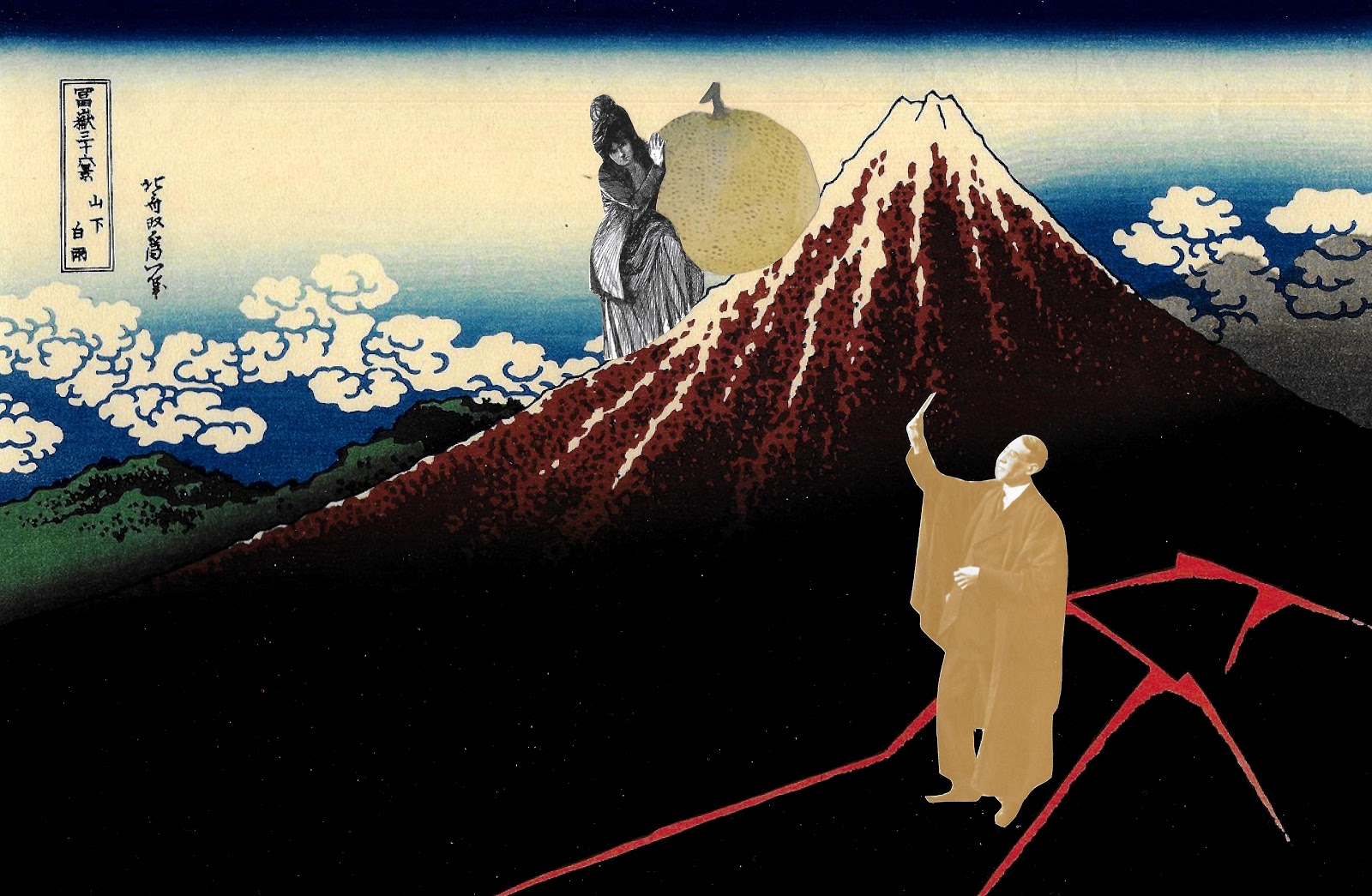 Female suffragette rolling a piece of Yuzu fruit up Mt. Fuji. Disinterested male professor looks at his cell phone.