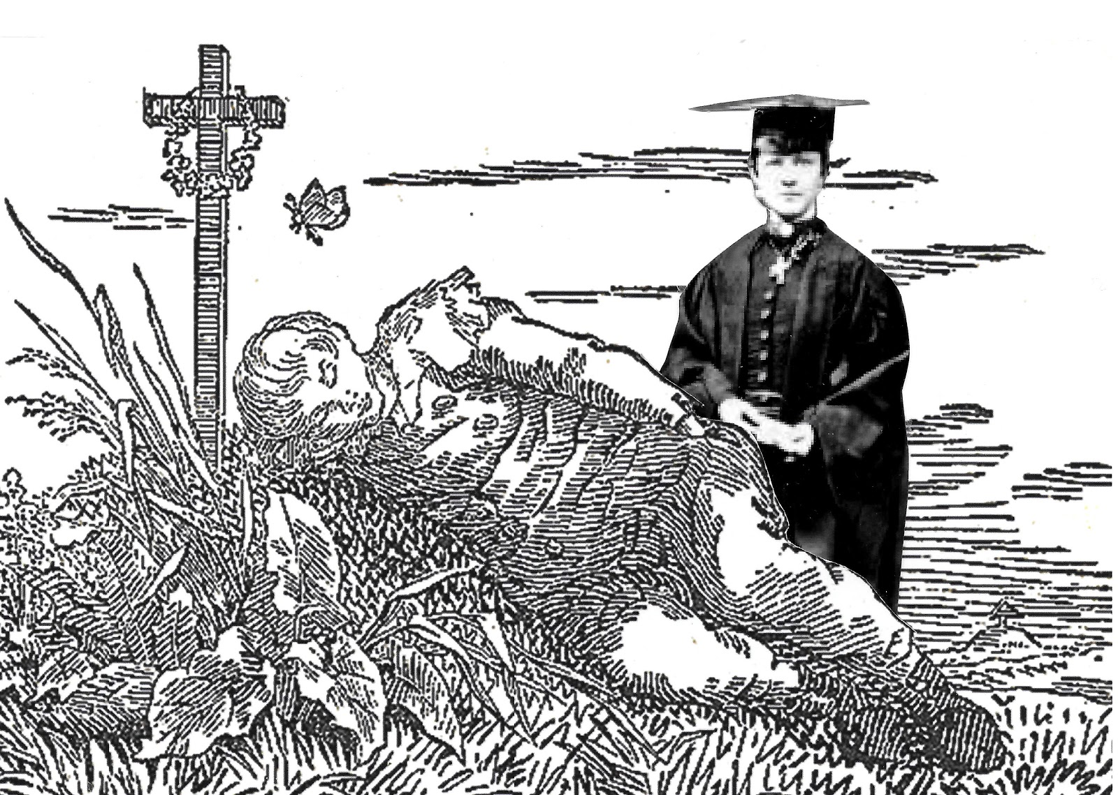 Political activist Bella Guerin wearing her academic regalia kneels next to a boy sleeping on a grave.