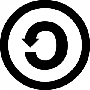 An icon of an arrow pointing toward its tail in a circle. The arrow is within a white circle with a black border. This denotes the ShareAlike CC license.