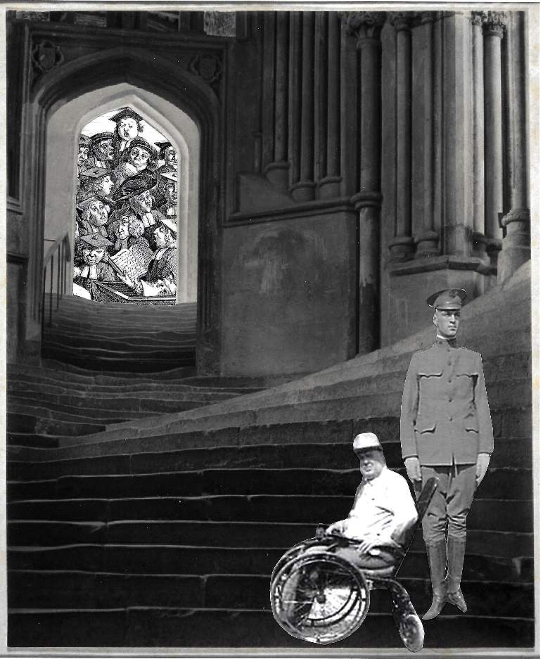 George Spinning as both a soldier and man in wheelchair stand at bottom of a flight of steps leading to academic lecture.