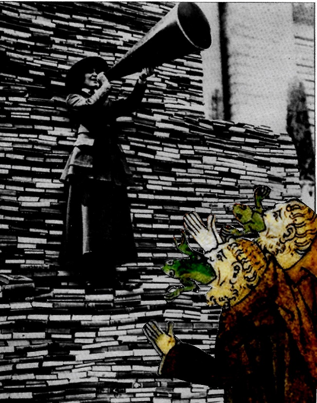 A librarian with a megaphone stands on a stack of books while two false prophets with frogs coming out of their mouths.