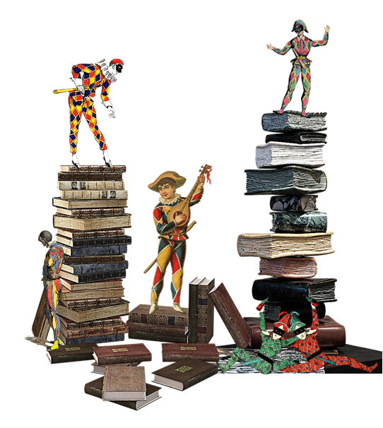 Harlequins frolic around stacks of books.