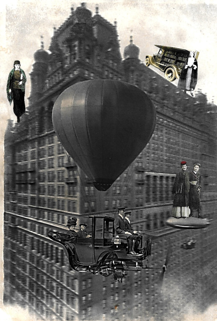 A car floating from a balloon passes in front of a building on which students stand.