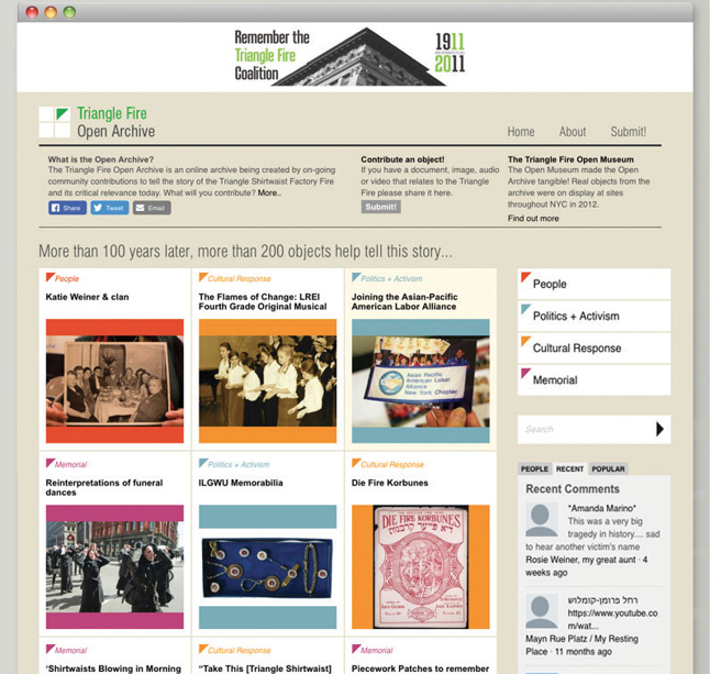 "A screenshot of the homepage of the Triangle Fire Open Archive. There are numerous short, explanatory texts in smaller font and a header text that reads ""More than 100 years later, more than 200 objects tell this story…""."